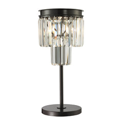 22'' Palacial 1 Light Table Lamp In Oil Rubbed Bronze And Clear Crystal