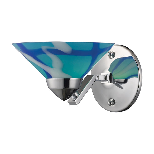 1 Light Sconce In Polished Chrome & Carribean Glass