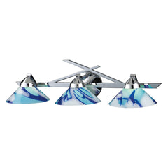 3 Light Wall Bracket In Polished Chrome & Carribean Glass