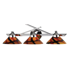 3 Light Wall Bracket In Polished Chrome & Jasper Glass