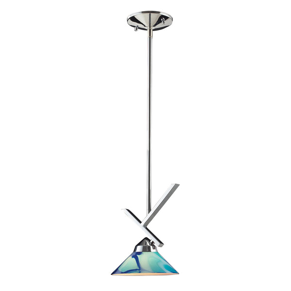 1 Light Pendant In Polished Chrome & Carribean Glass