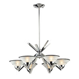 6 Light Chandelier In Polished Chrome & Etched Clear Glass