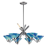 6 Light Chandelier In Polished Chrome & Carribean Glass