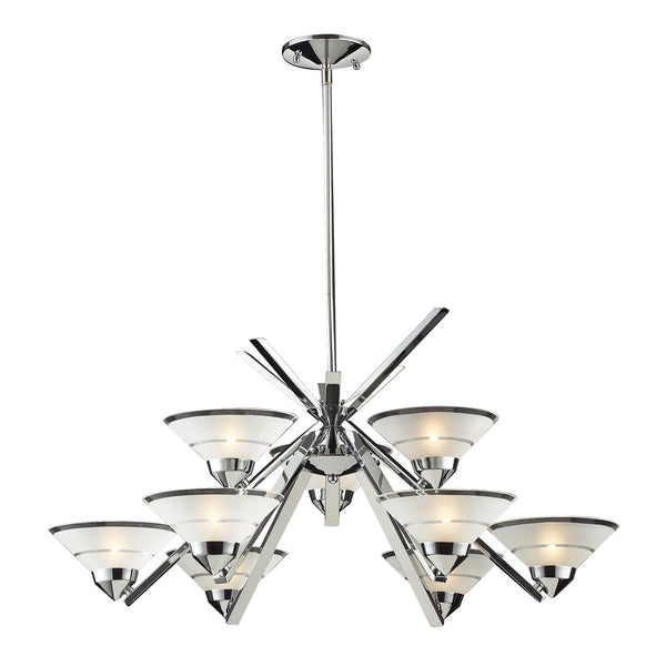 9 Light Chandelier In Polished Chrome & Etched Clear Glass