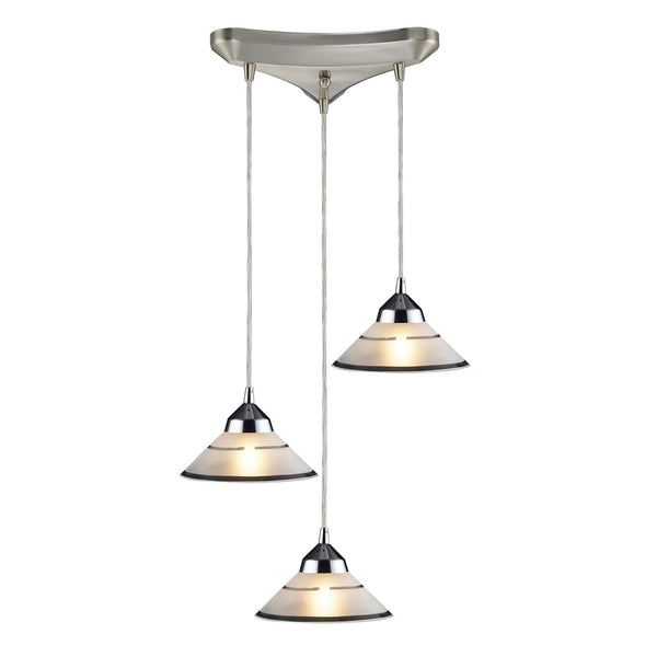 3 Light Pendant In Polished Chrome & Etched Clear Glass - 10''x4''