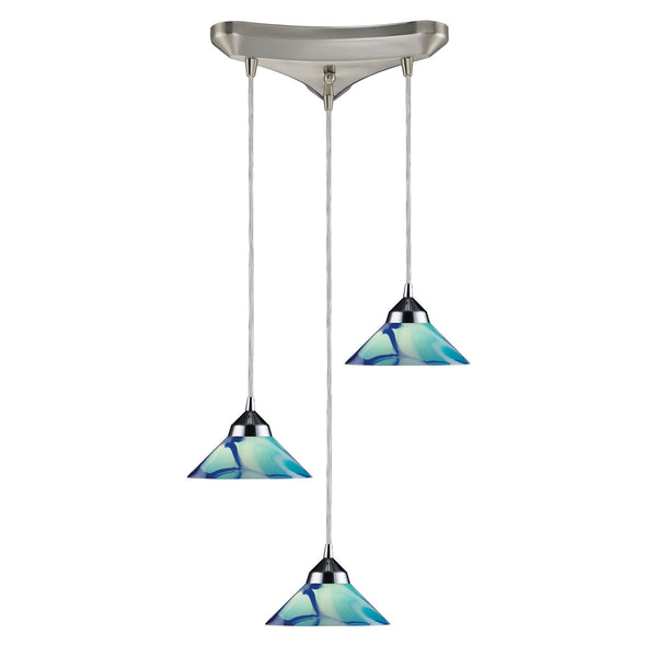 3 Light Pendant In Polished Chrome & Carribean Glass - 10''x4''