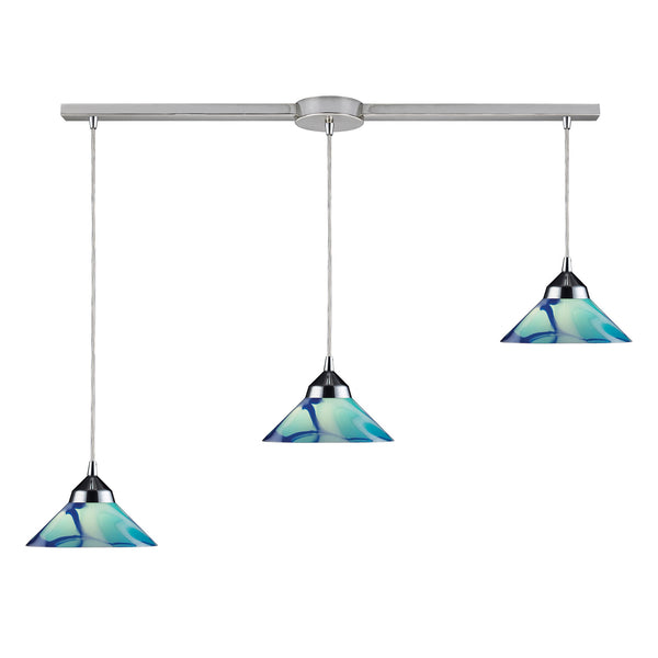 3 Light Pendant In Polished Chrome & Carribean Glass - 36''x4''