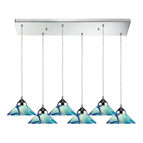 Refraction 6 Light Pendant In Polished Chrome & Carribean Glass