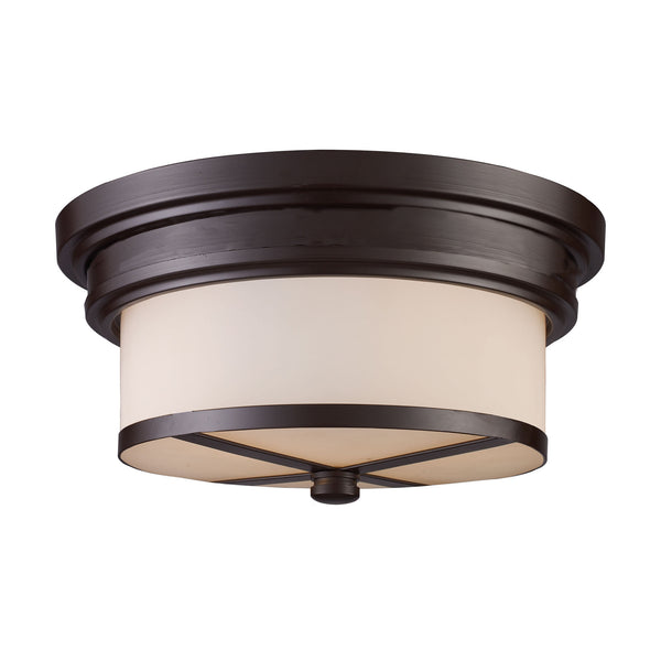 Flush Mount 2 Light In Oiled Bronze