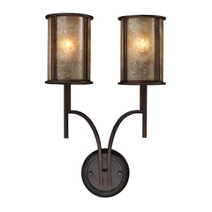 Barringer 2-Light Sconce In Aged Bronze and Tan Mica Shades