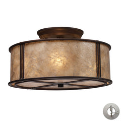 Barringer 3-Light Semi-Flush In Aged Bronze and Tan Mica Shade With Adapter Kit