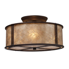 Barringer 3 Light Semi-Flush In Aged Bronze & Tan Mica Shade