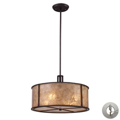Barringer 4-Light Pendant In Aged Bronze and Tan Mica Shade With Adapter Kit