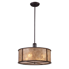 Barringer 4 Light Pendant In Aged Bronze & Tan Mica Shade