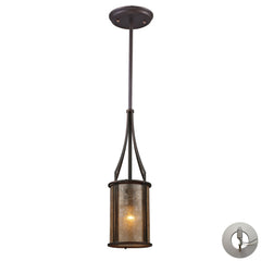 Bronze Barringer 1-Light Mini Pendant and Tan Mica Shade With Adapter Kit