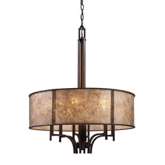 Barringer 6-Light Pendelier In Aged Bronze and Tan Mica Shade
