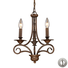 Gloucester 3-Light Chandelier In Antique Bronze With Adapter Kit