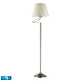 "Diamond Lighting 14"" Transitional Elysburg 1 Light LED Floor Lamp in Satin Nickel"
