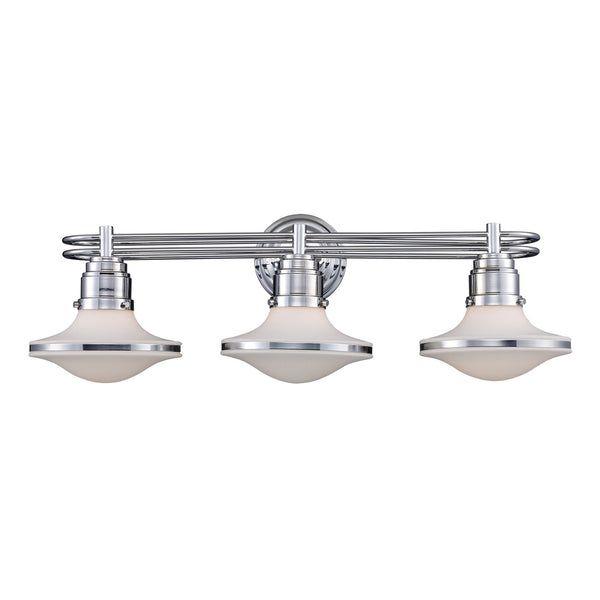 Retrospective 3-Light Bath Vanity Light Bar In Polished Chrome