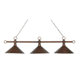 Modern 3-Light Billiard/Island In Antique Copper w/ Hand Hammered Iron Shades