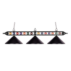 Designer Classics 3-Light Billiard/Island In Matte Black w/ Metal Shades