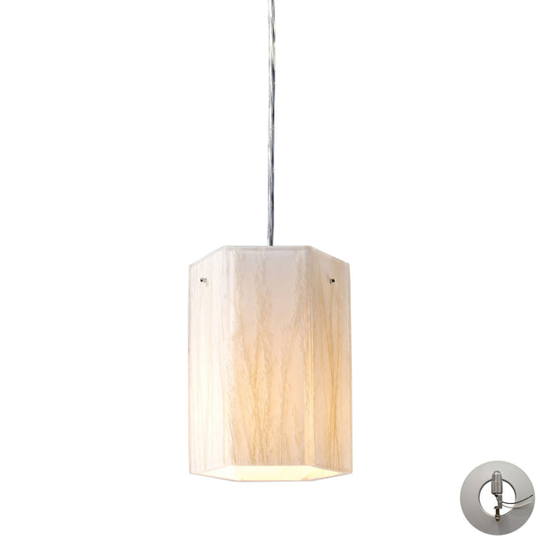 Modern Organics-1-Light Pendant In White Sawgrass Material In Polished Chrome With Adapter Kit