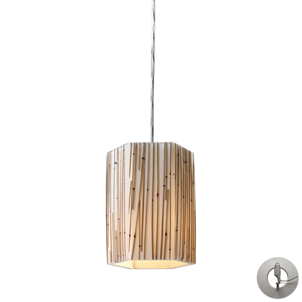 Modern Organics-1-Light Pendant In Bamboo Stem Material In Polished Chrome With Adapter Kit