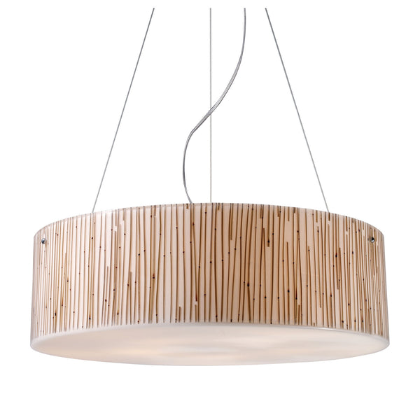 Modern Organics-5-Light Pendant In Bamboo Stem Material In Polished Chrome