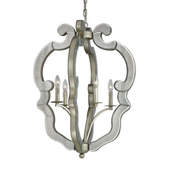 Mariana Collection 4 light pendant in Speckled Silver