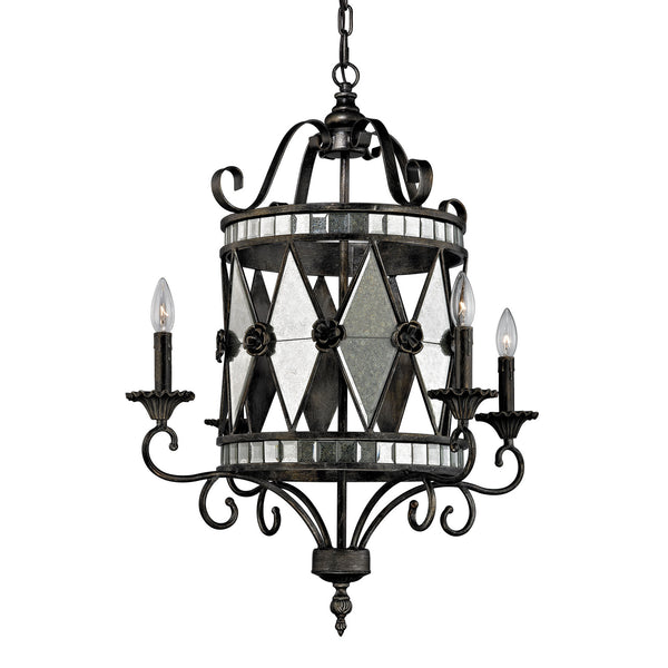 Mariana Collection 4 light chandelier in Blackened Silver