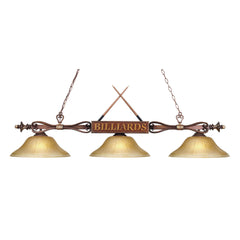 Modern 3-Light Billiard/Island - Wood Patina w/ Amber Gratina Glass Shades