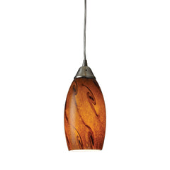 Galaxy 1-Light Pendant In Brown & Satin Nickel Finish