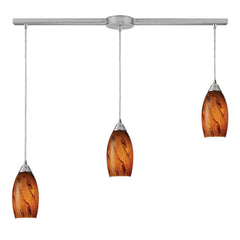 Galaxy 3-Light Pendant In Brown and Satin Nickel Finish