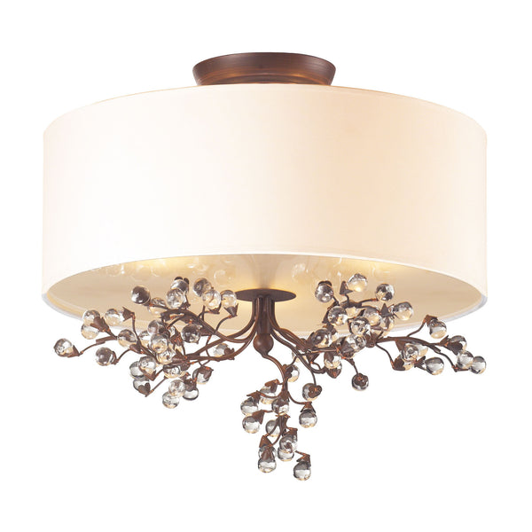 Winterberry 3 Light Semi Flush In Antique Darkwood