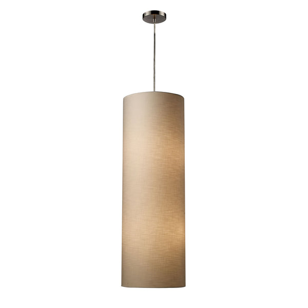 Fabric Cylinder 4-Light Pendant Lamp In Satin Nickel