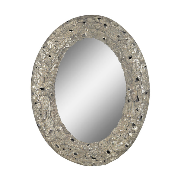 "Aged Silver Stephane Metal Wall Mirror - 42""x34"""