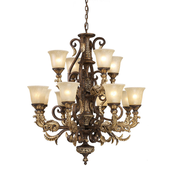 12 Light Chandelier In Burnt Bronze