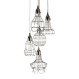 Silver Wire Five Pendant Lamp