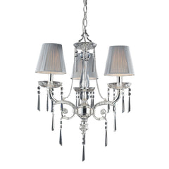 3 Light Chandelier In Polished Silver and Iced Glass