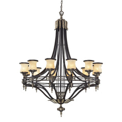 12 Light Chandelier In Antique Bronze & Dark Umber & Marblized Amber Glass