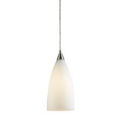 1 Light Pendant In Satin Nickel & White Glass