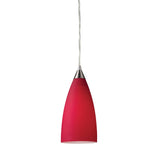 1 Light Pendant In Satin Nickel w/ Vesta Red Glass
