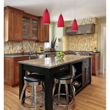 ELK Lighting 1 Light Pendant In Satin Nickel w/ Vesta Red Glass