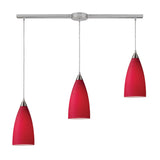 Vesta 3-Light Linear Pendant In Cardinal Red In Satin Nickel