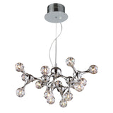 Polished Chrome Molecular Collection 15-Light Chandelier In Chrome With Rainbow Glass