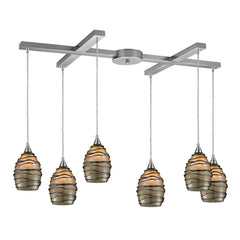 6- Light Pendant In Satin Nickel
