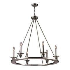 6- Light Chandelier In Satin Nickel