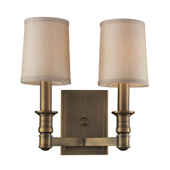 2- Light Wall Sconce In Brushed Antique Brass