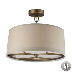3- Light Pendant In Brushed Antique Brass With Adapter Kit