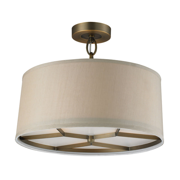 3- Light Pendant In Brushed Antique Brass
